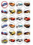 24 Hot Wheels Cars Edible Wafer Paper Cup Cake Toppers